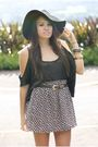 Black-self-made-blouse-black-hat-black-self-made-skirt-brown-vintage-belt