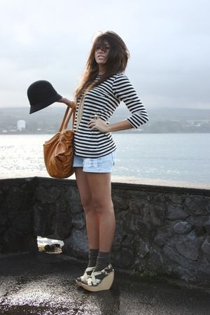 black nautical stripe Mossimo blouse - gold strappy wedge Steve Madden shoes