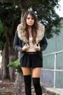 Gray-cardigan-black-shorts-black-american-apparel-socks