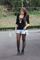 Urban Outfitters blouse - Forever21 necklace - Oneil shorts - Walmart stockings