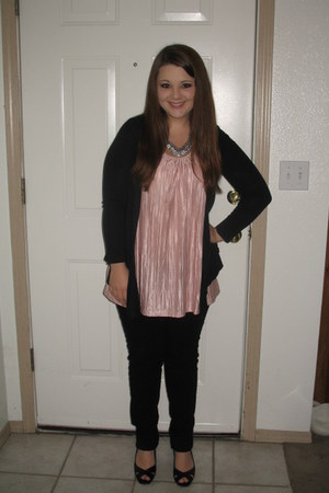 black Licorice cardigan - light pink xhilaration top - black rewind pants - blac