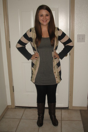 gray xhilaration dress - beige parfait cardigan - blue leggings - brown Nicole b