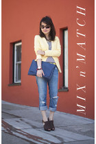Zara blazer - citizens of humanity jeans - Vince Camuto bag - Theory sunglasses