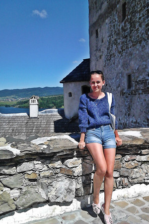 navy DIY sweater - cream krakow bag handmade bag - navy denim shorts DIY shorts