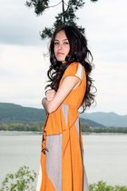 brown leather Bershka shoes - orange dress