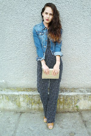 navy denim H&M jacket - gold Avon purse - Oysho romper