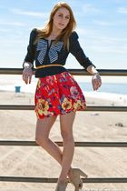 blue bow TRF for Zara jacket - beige Forever 21 shoes - red Zara skirt