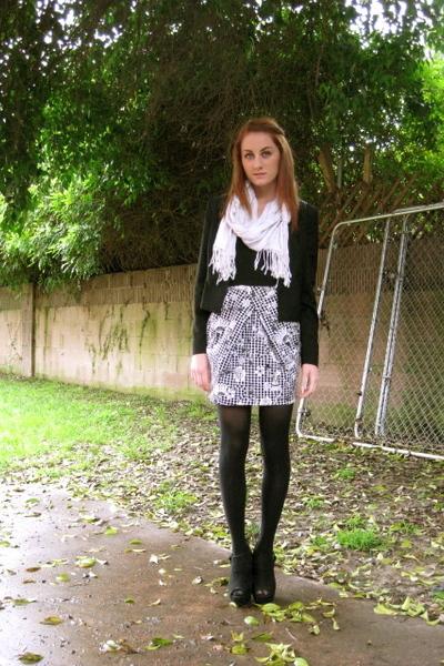 black Forever21 jacket - black unkown shoes - black Zara dress