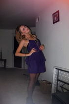 purple Solemio dress - black American Apparel tights - black unknown shoes