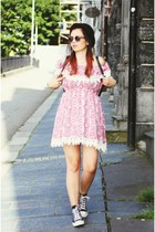 bowler hat H&M hat - black and white Converse shoes - pink lace print old dress