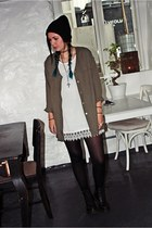 black beanie Ebay hat - leather Dr Martens shoes - white lace unknown dress