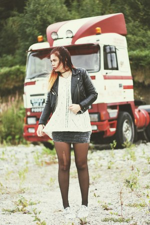 biker H&M jacket - grey h&m divided dress - leopard print Vans flats