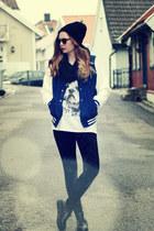 black beanie Ebay hat - black velvet H&M leggings