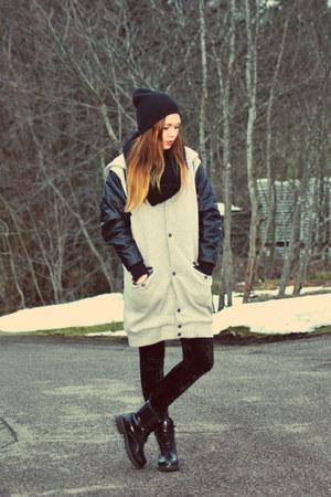 black second hand boots - velvet H&M leggings