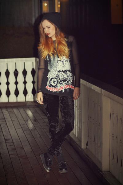 black velvet H&M leggings - Ebay flats