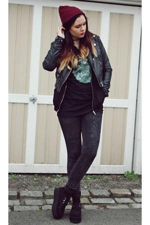 beanie Primark hat - Band tee t-shirt