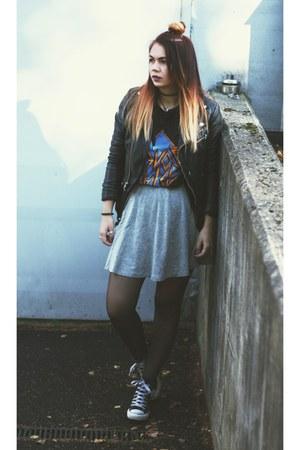 Converse shoes - biker H&M jacket - printed carlings t-shirt