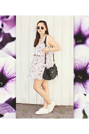 floral H&M dress - white chunky asos flats