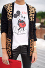 White-mickey-mouse-t-shirt-red-bag-neutral-leopard-print-cardigan