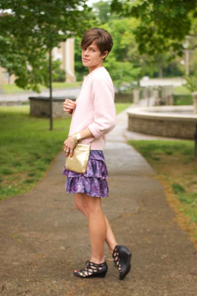 light pink vintage sweater - black Call it Spring shoes - violet Gap dress
