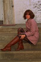 pink vintage jacket - brown vintage boots