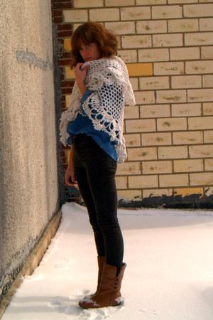 vintage boots - black Topshop jeans - blue thrifted Ralph Lauren shirt