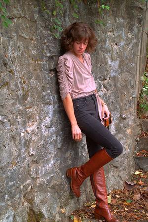 vintage blouse - vintage boots - Topshop jeans