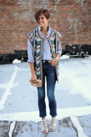 Gap jeans - beige shoes - silver Gap shirt - vintage cardigan