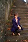 Deep-purple-worthington-coat-black-thrifted-gap-pants
