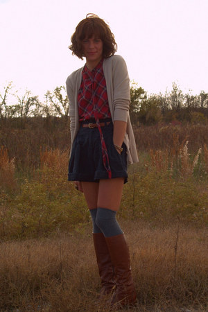 vintage blouse - vintage shorts - thrifted cardigan