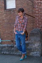 vintage jordache jeans - plaid vintage blouse