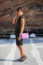 Black-polka-dot-dress-light-purple-bag-heather-gray-converse-sneakers
