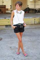 vintage shoes - white shirt - black bag - black shorts