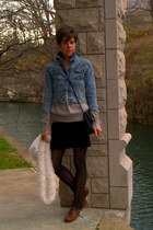 brown call it spring JCPenney shoes - light blue Levis jacket