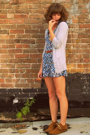 blue walmart romper - vintage accessories - gray Target cardigan
