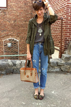army green jacket - light blue thrift Gap jeans - gray vintage shirt - bag