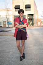 deep purple shorts - black Call it Spring shoes - red blazer - periwinkle bag