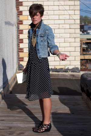 black polka dot dress - sky blue Levis jacket - black Call it Spring sandals