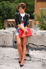 Black-faux-leather-h-m-jacket-red-bag-levis-shorts