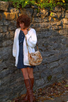 vintage cardigan - vintage bag - vintage boots - vintage dress