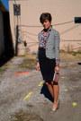 White-olsenboye-blazer-maroon-vintage-blouse-black-skirt