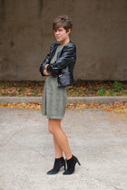 black boots - olive green vintage dress - black faux leather H&M jacket