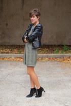 black boots - olive green vintage dress - black faux leather H&M jacket