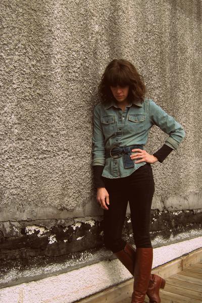 vintage boots - Old Navy shirt - vintage belt - Topshop jeans