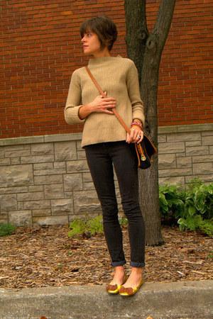 dark gray Topshop jeans - camel thrifted sweater - vintage Dooney & Bourke bag
