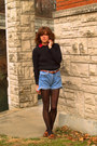 Black-liz-claiborne-sweater-levis-shorts
