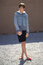 ruby red flats - denim Levis jacket - black skirt - sweatshirt