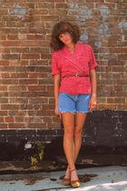 vintage blouse - vintage levis shorts