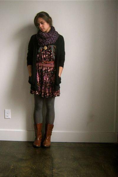 black Mossimo cardigan - gray UO tights - Lux dress - vintage belt - vintage boo