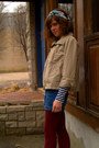 Tan-jacket-rodarte-for-target-shirt-crimson-calvin-klein-tights-blue-talbo